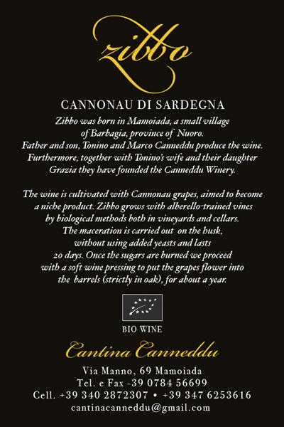 ZIBBO Cannonau di Sardegna DOC Cantina Canneddu • Mamoaiada La retro etichetta